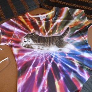 Tops - RAVE KITTY T-Shirt Cat Tee Tie Dye Spandex Medium
